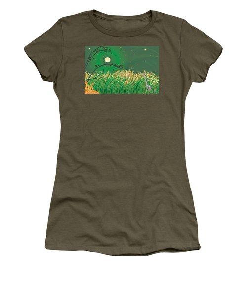 Women's T-Shirt (Junior Cut) featuring the digital art Blue Heron Grasses by Kim Prowse