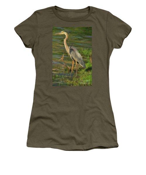 Blue Heron On The Bank Women's T-Shirt