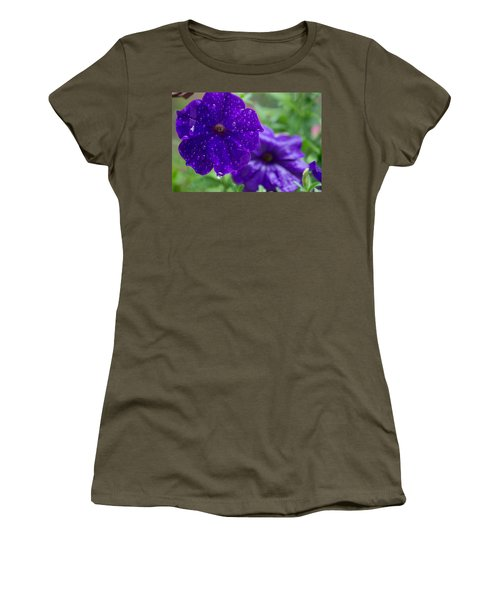 Blue Pansies After A Rain Women's T-Shirt