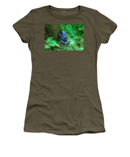 Blue Poison Dart Frog Women's T-Shirt (Junior Cut) by DejaVu Designs