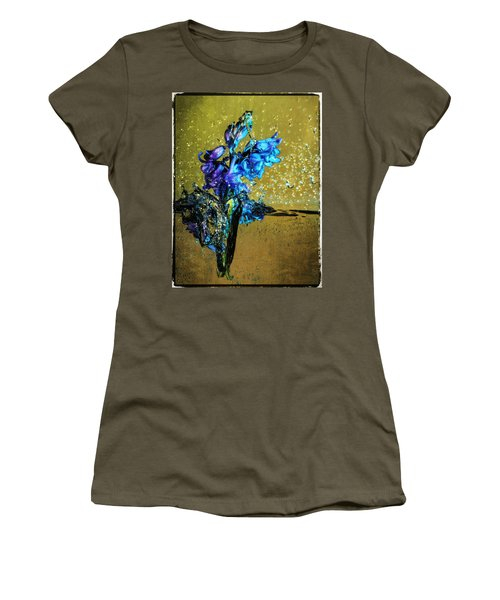 Women's T-Shirt (Junior Cut) featuring the mixed media Bluebells In Water Splash by Peter v Quenter
