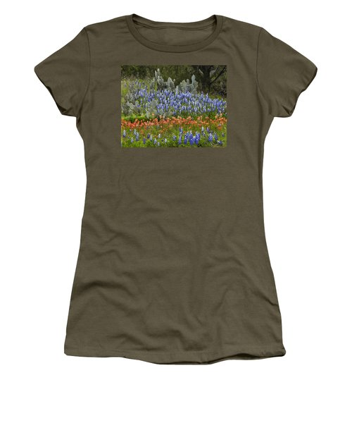 Bluebonnets Paintbrush And Prickly Pear Women's T-Shirt