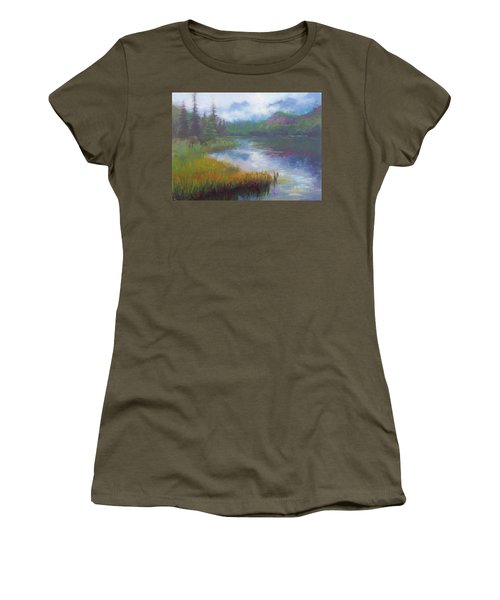 Bonnie Lake - Alaska Misty Landscape Women's T-Shirt