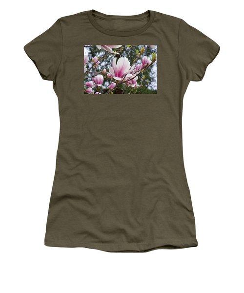 Botanical Tree Pink White Magnolia Flowers Women's T-Shirt