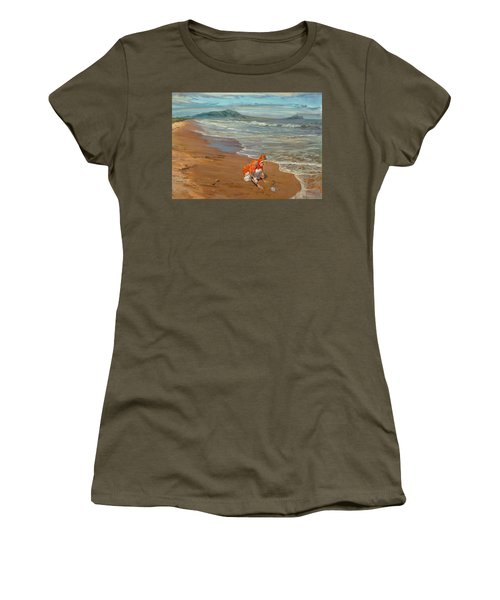 Boy At The Seashore Women's T-Shirt (Athletic Fit)