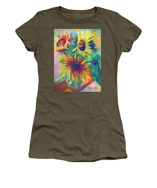 Brandy's Sunflowers - Still Life On Windowsill Women's T-Shirt (Athletic Fit)