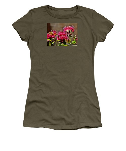 Women's T-Shirt (Junior Cut) featuring the photograph Breakfast At The Bee Balm by VLee Watson