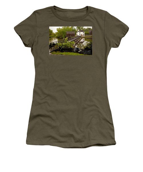 Women's T-Shirt (Junior Cut) featuring the photograph Bridge To Philipsburg Manor Mill House by Jerry Cowart