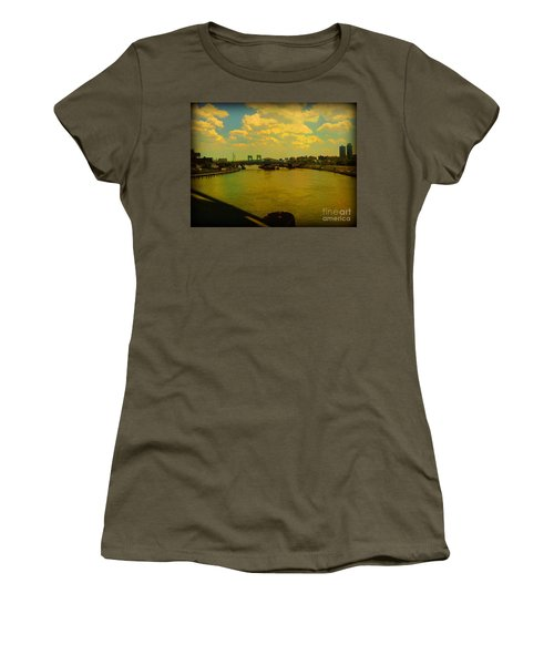 Women's T-Shirt (Junior Cut) featuring the photograph Bridge With Puffy Clouds by Miriam Danar