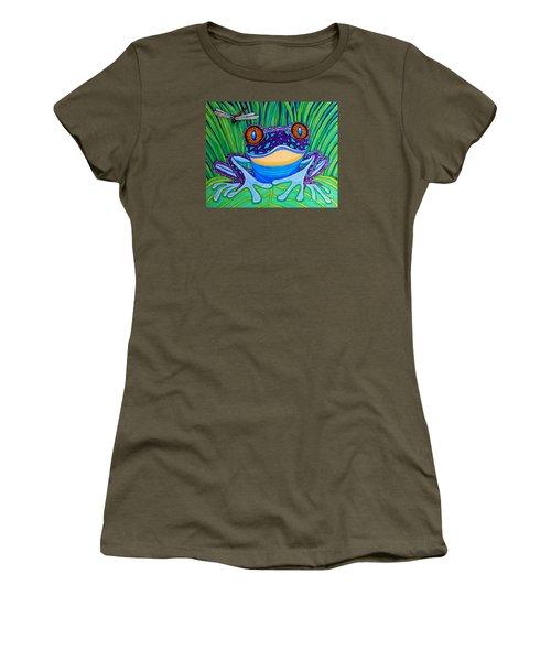 Bright Eyed Frog Women's T-Shirt (Junior Cut) by Nick Gustafson