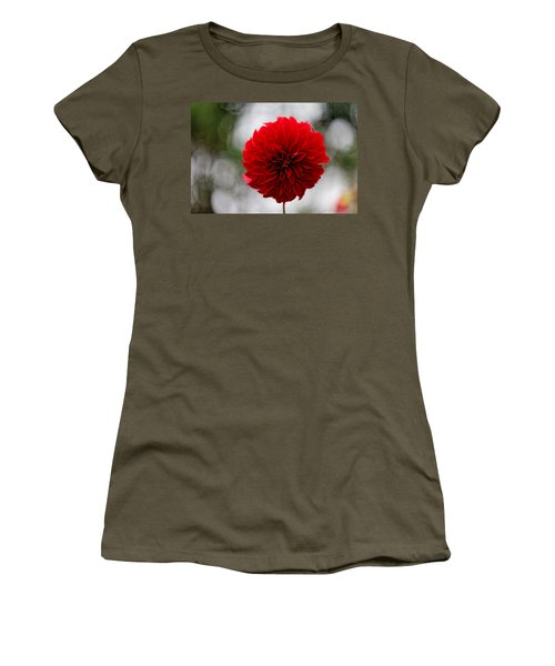 Bright Red Dahlia Women's T-Shirt (Athletic Fit)