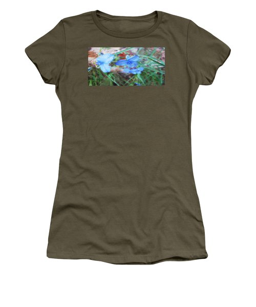 Women's T-Shirt (Junior Cut) featuring the photograph Brilliant Blue Flowers by Cathy Anderson