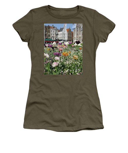 Women's T-Shirt (Athletic Fit) featuring the photograph Brugge In Spring by Ausra Huntington nee Paulauskaite
