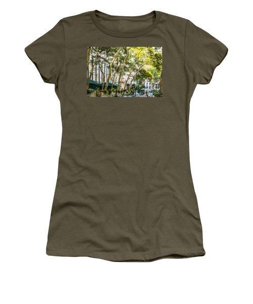 Bryant Park Midtown New York Usa Women's T-Shirt (Junior Cut) by Liz Leyden