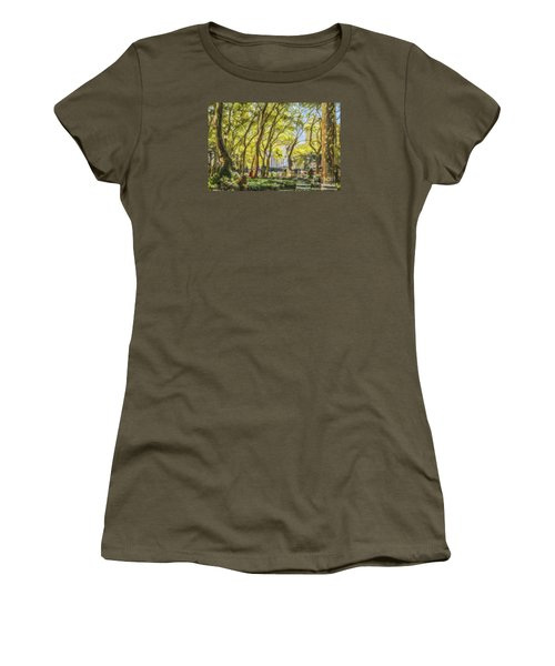 Bryant Park October Morning Women's T-Shirt (Junior Cut) by Liz Leyden