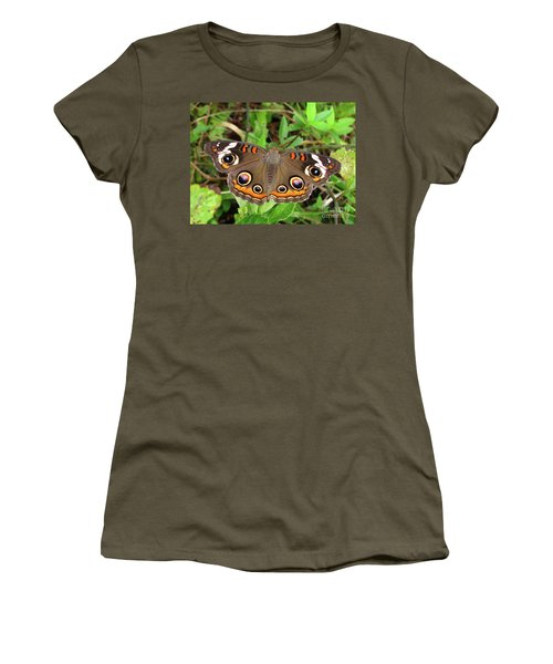 Women's T-Shirt (Junior Cut) featuring the photograph Buckeye Butterfly by Donna Brown