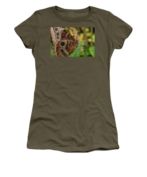 Women's T-Shirt (Junior Cut) featuring the photograph Blue Morpho Butterfly by Olga Hamilton