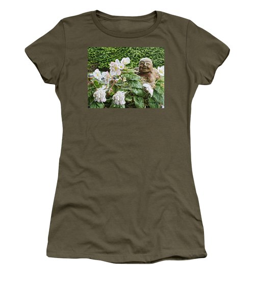 Budda And Begonias Women's T-Shirt (Junior Cut) by Denise Romano