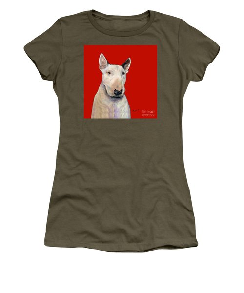 Bull Terrier On Red Women's T-Shirt