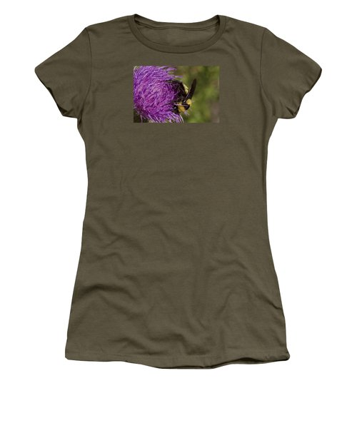 Bumble Bee On Thistle Women's T-Shirt (Junior Cut) by Shelly Gunderson