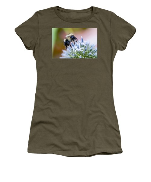 Women's T-Shirt (Junior Cut) featuring the photograph Bumblebee On Thistle Blossom by Marty Saccone