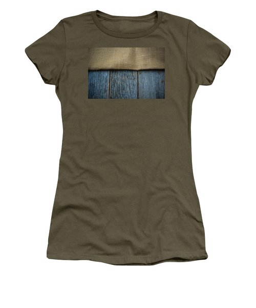 Burlap Texture On Wooden Table Background Women's T-Shirt