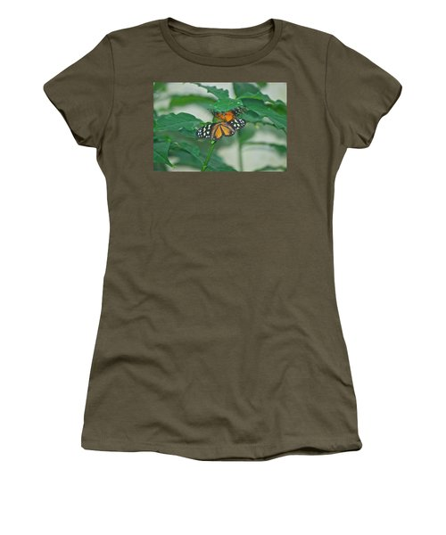 Women's T-Shirt (Junior Cut) featuring the photograph Butterflies Gentle Touch by Thomas Woolworth
