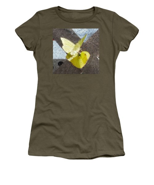 Sulfur Butterflies Mating Women's T-Shirt (Athletic Fit)