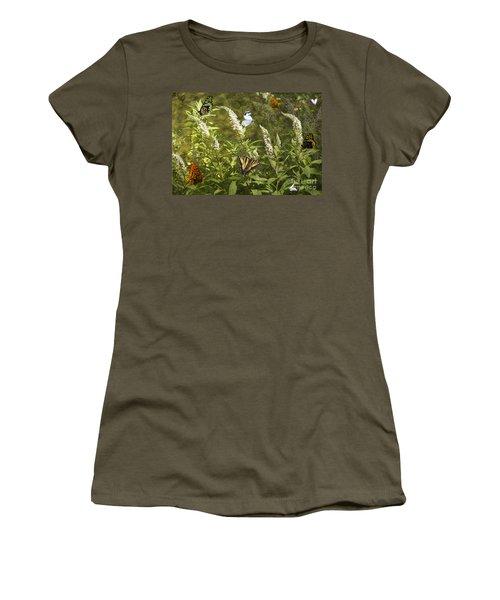 Butterflies In Golden Garden Women's T-Shirt (Junior Cut) by Belinda Greb