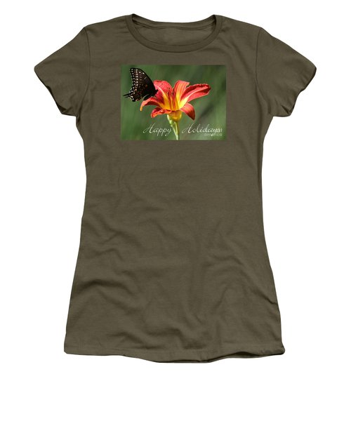 Butterfly And Lily Holiday Card Women's T-Shirt