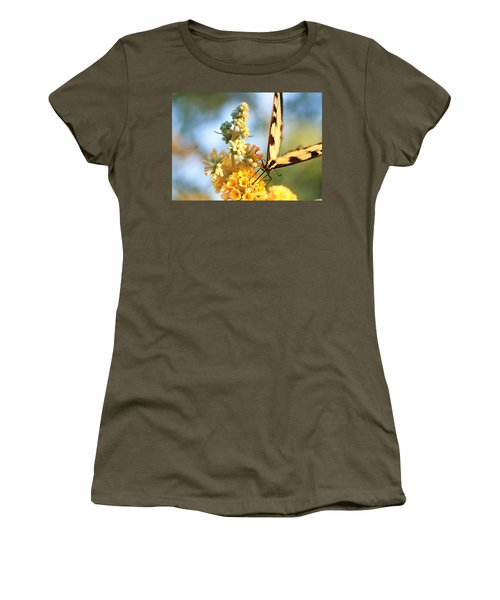 Women's T-Shirt (Junior Cut) featuring the photograph Butterfly At Work by Trina  Ansel