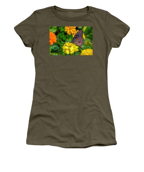 Butterfly On Yellow Marigold Women's T-Shirt