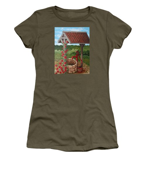 Women's T-Shirt (Junior Cut) featuring the painting By The Water Pump by Katherine Young-Beck