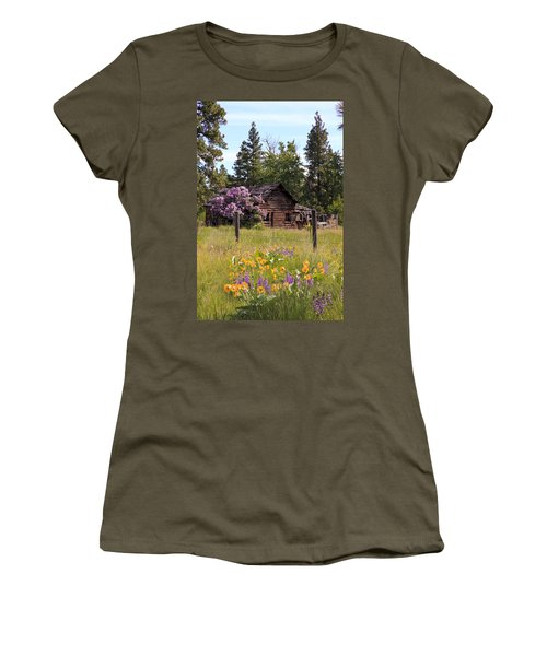 Cabin And Wildflowers Women's T-Shirt (Junior Cut) by Athena Mckinzie