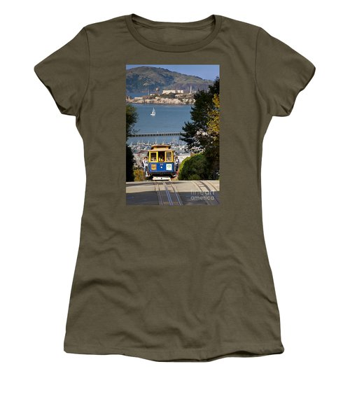 Women's T-Shirt featuring the photograph San Francisco Cable Car On Hyde Street Print By Brian Jannsen Photography by Brian Jannsen
