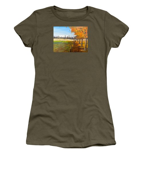 Women's T-Shirt (Junior Cut) featuring the painting Camden Farm by Pamela  Meredith