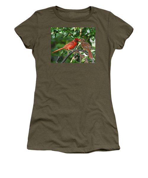 Cardinal Bird Valentines Love  Women's T-Shirt (Athletic Fit)