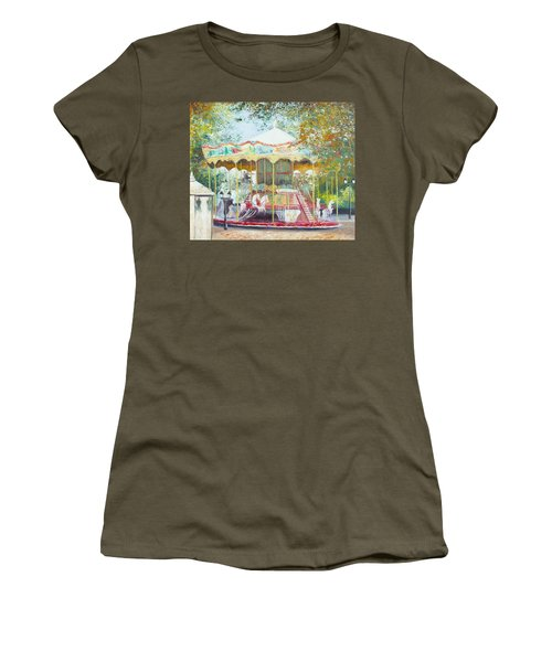 Carousel In Montmartre Paris Women's T-Shirt (Athletic Fit)
