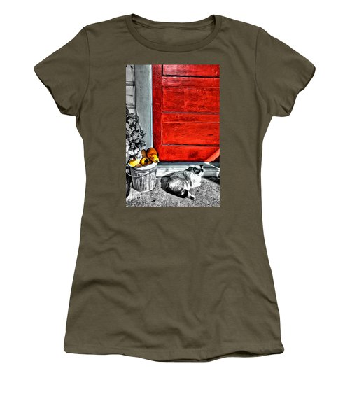 Cat By The Red Door Women's T-Shirt