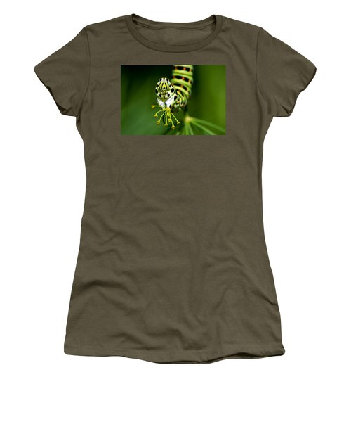 Caterpillar Of The Old World Swallowtail Women's T-Shirt (Junior Cut) by Torbjorn Swenelius