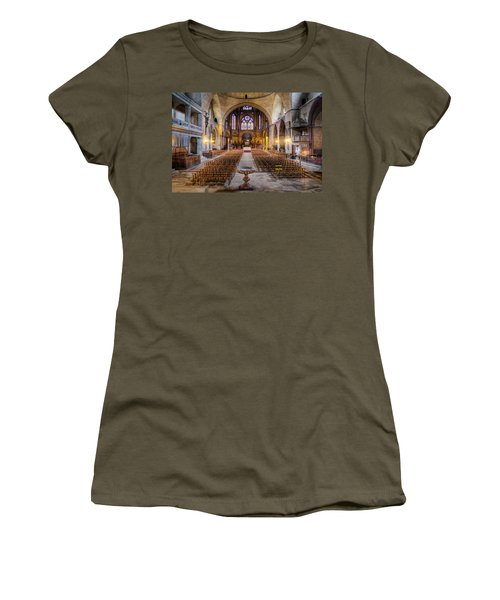 Women's T-Shirt featuring the photograph Cathedrale Saint-etienne Interior / Cahors by Barry O Carroll