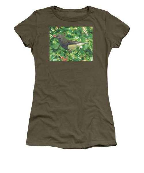 Cedar Waxwing Eating Mulberry Women's T-Shirt (Athletic Fit)