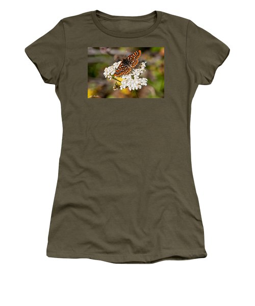 Checkerspot Butterfly On A Yarrow Blossom Women's T-Shirt (Junior Cut) by Jeff Goulden