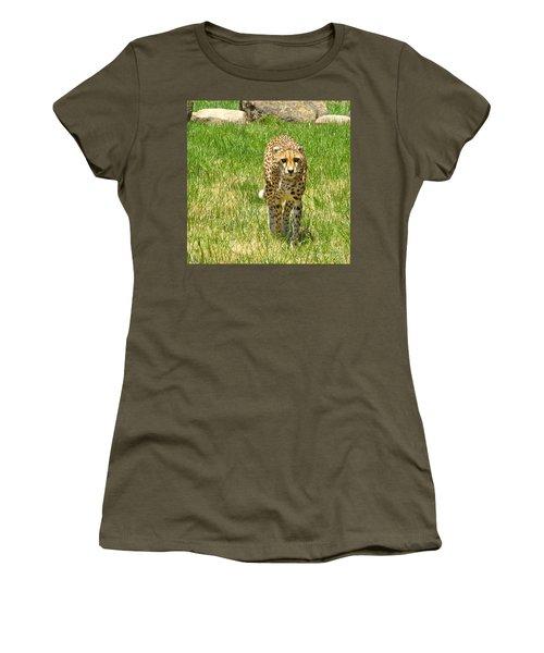 Women's T-Shirt (Junior Cut) featuring the photograph Cheetah Approaching by CML Brown