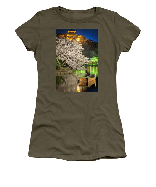 Cherry Blossom Temple Boat Women's T-Shirt (Athletic Fit)
