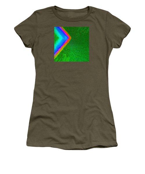 Women's T-Shirt (Junior Cut) featuring the painting Chevron Rainbow C2014 by Paul Ashby