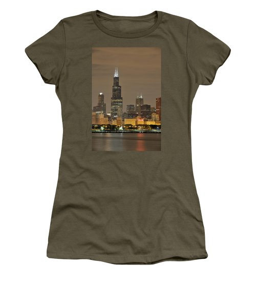 Chicago Skyline At Night Women's T-Shirt