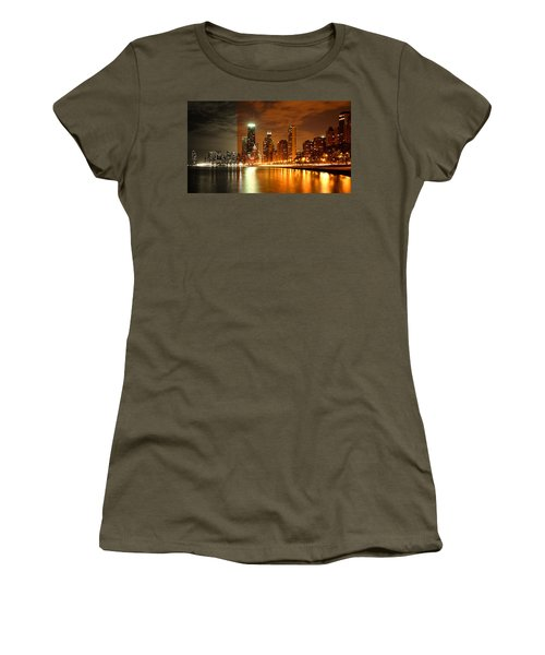 Chicago Skyline Night Amber Women's T-Shirt