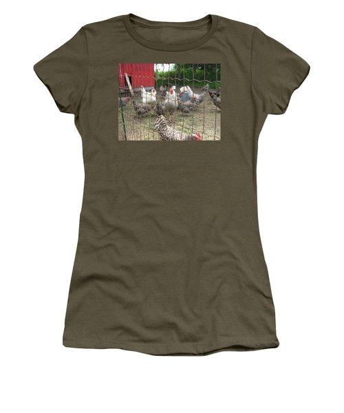 Chicken Coop. Women's T-Shirt (Junior Cut) by Francine Heykoop