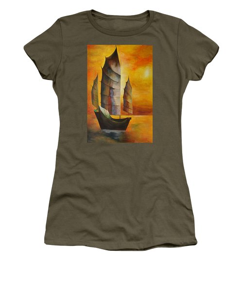 Chinese Junk In Ochre Women's T-Shirt (Athletic Fit)